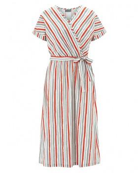 GITTA Dámské šaty s krátkými rukávy z konopí a biobavlny - oranžová crab