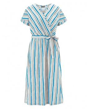 GITTA Dámské šaty s krátkými rukávy z konopí a biobavlny - modrá topaz