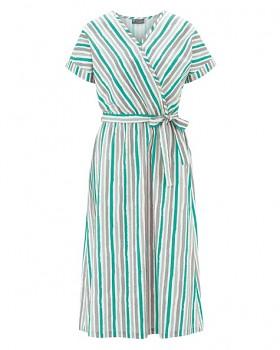 GITTA Dámské šaty s krátkými rukávy z konopí a biobavlny - zelená emerald