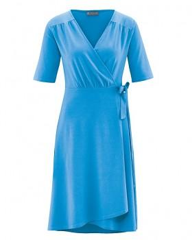 BOWIE Dámské zavinovací šaty s krátkými rukávy z biobavlny a konopí - modrá topaz