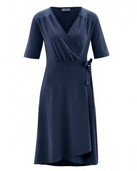 BOWIE Dámské zavinovací šaty s krátkými rukávy z biobavlny a konopí - tmavě modrá navy