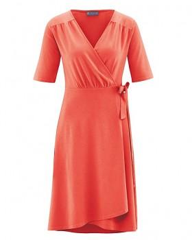 BOWIE Dámské zavinovací šaty s krátkými rukávy z biobavlny a konopí - oranžová crab