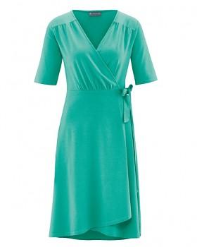 BOWIE Dámské zavinovací šaty s krátkými rukávy z biobavlny a konopí - zelená emerald