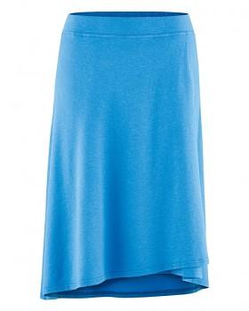 WICKY dámská asymetrická sukně z biobavlny a konopí - modrá topaz