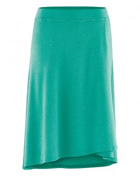 WICKY dámská asymetrická sukně z biobavlny a konopí - zelená emerald