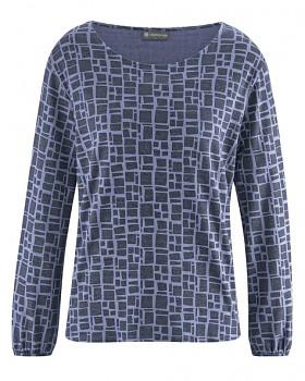 PRINT dámské triko s dlouhými rukávy z konopí a biobavlny - fialová lavender