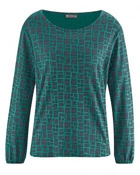 PRINT dámské triko s dlouhými rukávy z konopí a biobavlny - zelená spruce