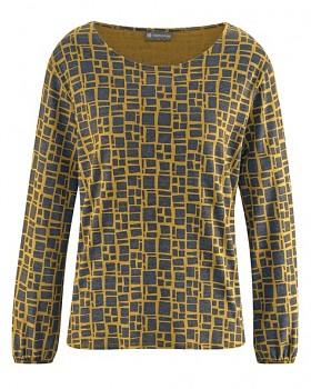 PRINT dámské triko s dlouhými rukávy z konopí a biobavlny - žlutá peanut