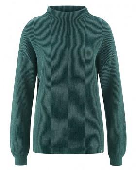 PULI dámský svetr z konopí a biobavlny - zelená dark spruce