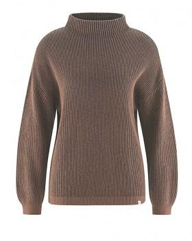 PULI dámský svetr z konopí a biobavlny - hnědá antracit-gravel