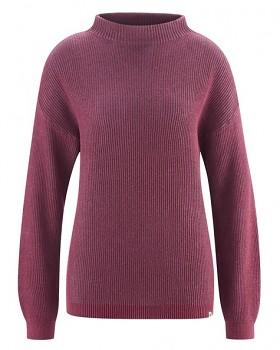 PULI dámský svetr z konopí a biobavlny - fialová mouse tinto