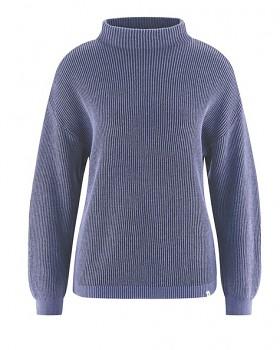 PULI dámský svetr z konopí a biobavlny - fialová dark lavender