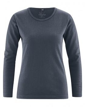 NAOMI dámské triko s dlouhým rukávem z konopí a biobavlny - tmavě šedá dark