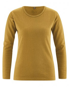 NAOMI dámské triko s dlouhým rukávem z konopí a biobavlny - žlutá peanut