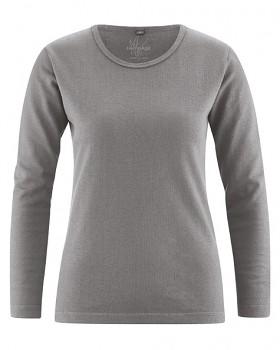 NAOMI dámské triko s dlouhým rukávem z konopí a biobavlny - šedá taupe