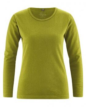 NAOMI dámské triko s dlouhým rukávem z konopí a biobavlny - žlutozelená fern