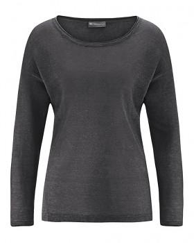 SARA dámské triko s dlouhým rukávem ze 100% konopí - tmavě šedá antracit