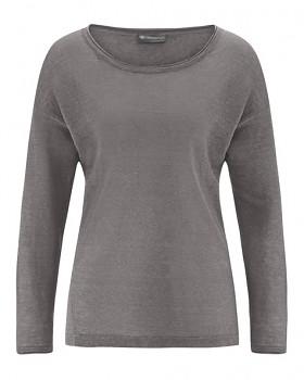 SARA dámské triko s dlouhým rukávem ze 100% konopí - šedá taupe