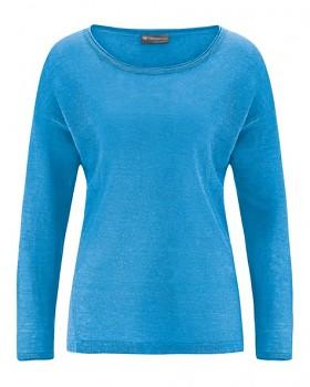 SARA dámské triko s dlouhým rukávem ze 100% konopí - modrá topaz