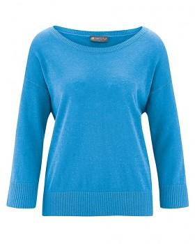 KENDRA dámský svetr s 3/4 rukávy z konopí a biobavlny - modrá topaz