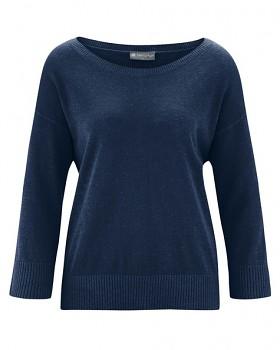 KENDRA dámský svetr s 3/4 rukávy z konopí a biobavlny - tmavě modrá navy
