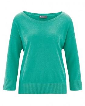 KENDRA dámský svetr s 3/4 rukávy z konopí a biobavlny - zelená emerald
