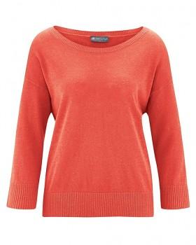 KENDRA dámský svetr s 3/4 rukávy z konopí a biobavlny - oranžová crab