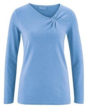 TARA dámské triko s dlouhými rukávy z konopí a biobavlny - světle modrá heaven