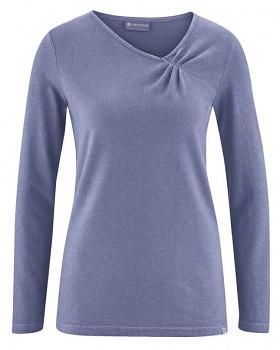 TARA dámské triko s dlouhými rukávy z konopí a biobavlny - fialová lavender