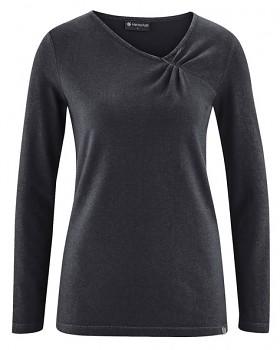 TARA dámské triko s dlouhými rukávy z konopí a biobavlny - černá