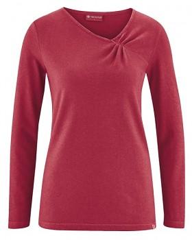 TARA dámské triko s dlouhými rukávy z konopí a biobavlny - červená cuvee