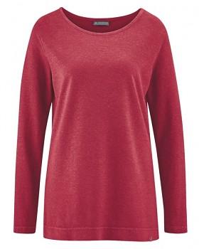 LISA dámské triko s dlouhými rukávy z konopí a biobavlny - červená cuvee