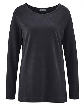 LISA dámské triko s dlouhými rukávy z konopí a biobavlny - černá
