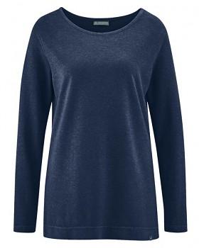 LISA dámské triko s dlouhými rukávy z konopí a biobavlny - tmavě modrá navy