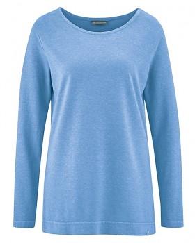 LISA dámské triko s dlouhými rukávy z konopí a biobavlny - světle modrá heaven