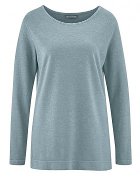LISA dámské triko s dlouhými rukávy z konopí a biobavlny - šedá aloe
