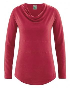 RIHANNA dámské triko s dlouhým rukávem z konopí a biobavlny - červená cuvee