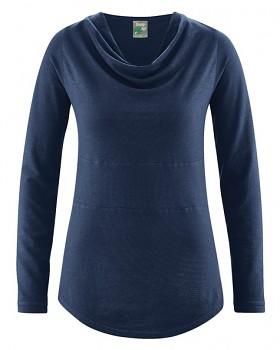 RIHANNA dámské triko s dlouhým rukávem z konopí a biobavlny - tmavě modrá navy