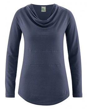 RIHANNA dámské triko s dlouhým rukávem z konopí a biobavlny - tmavě modrá wintersky