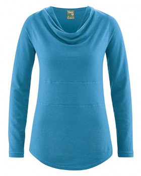 RIHANNA dámské triko s dlouhým rukávem z konopí a biobavlny - modrá atlantik