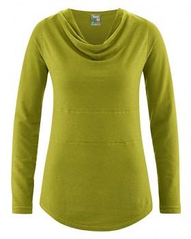 RIHANNA dámské triko s dlouhým rukávem z konopí a biobavlny - zelená fern