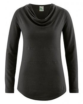 RIHANNA dámské triko s dlouhým rukávem z konopí a biobavlny - černá