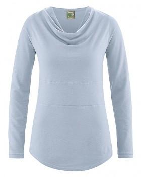 RIHANNA dámské triko s dlouhým rukávem z konopí a biobavlny - světle modrá clear sky