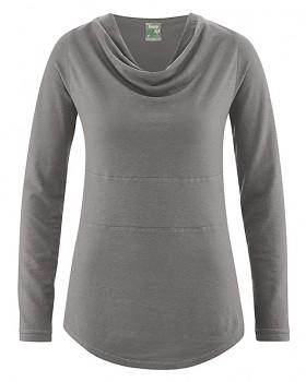 RIHANNA dámské triko s dlouhým rukávem z konopí a biobavlny - šedá taupe