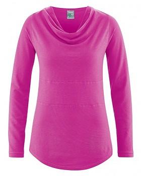RIHANNA dámské triko s dlouhým rukávem z konopí a biobavlny - růžová candy