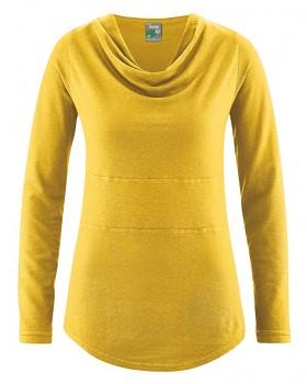 RIHANNA dámské triko s dlouhým rukávem z konopí a biobavlny - žlutá curry