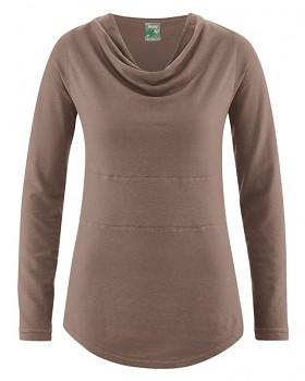RIHANNA dámské triko s dlouhým rukávem z konopí a biobavlny - hnědá gravel