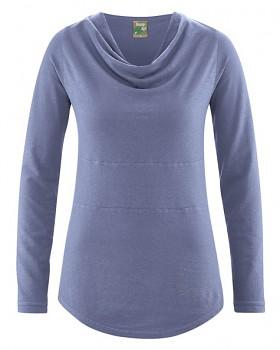 RIHANNA dámské triko s dlouhým rukávem z konopí a biobavlny - fialová lavender