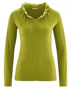 DINAH dámské triko s dlouhým rukávem z biobavlny a konopí - zelená fern
