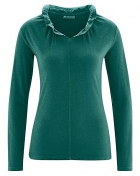 DINAH dámské triko s dlouhým rukávem z biobavlny a konopí - zelená spruce